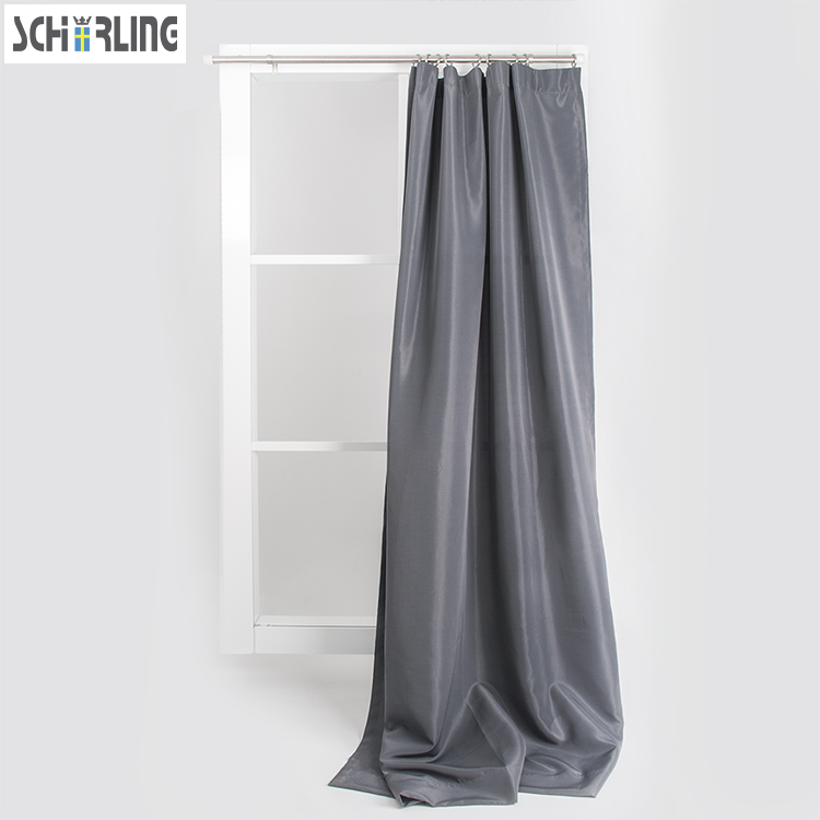 Solid Grey Color Cheap Curtains bedroom window treatment Hook on and full pleated style Window curtains Customized Size Accepted