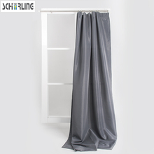 Solid Grey Color Cheap Curtains bedroom window treatment Hook on and full pleated style Window curtains