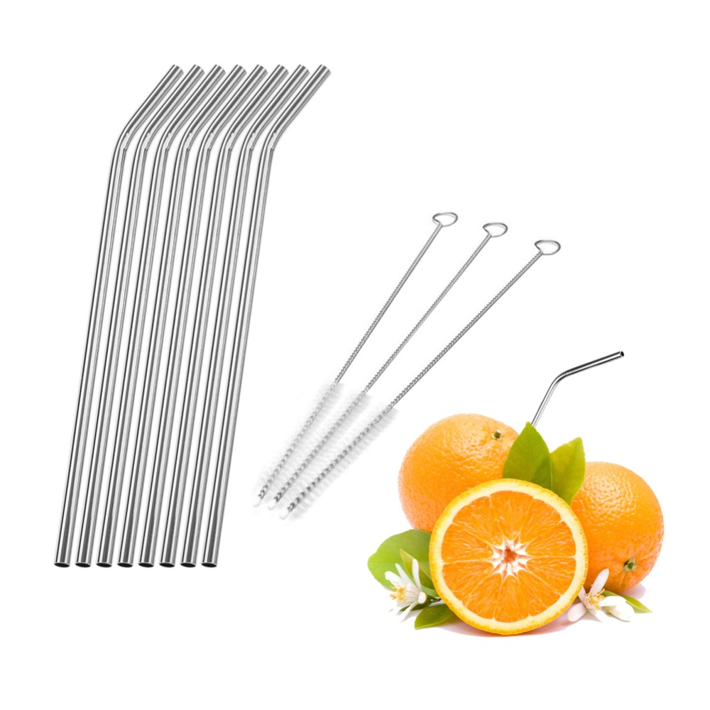 Reusable Drinking Straws Stainless Steel Drinking Straws Cleaner Brush Tube Straws Wedding Party Decoration Drinking Accessories