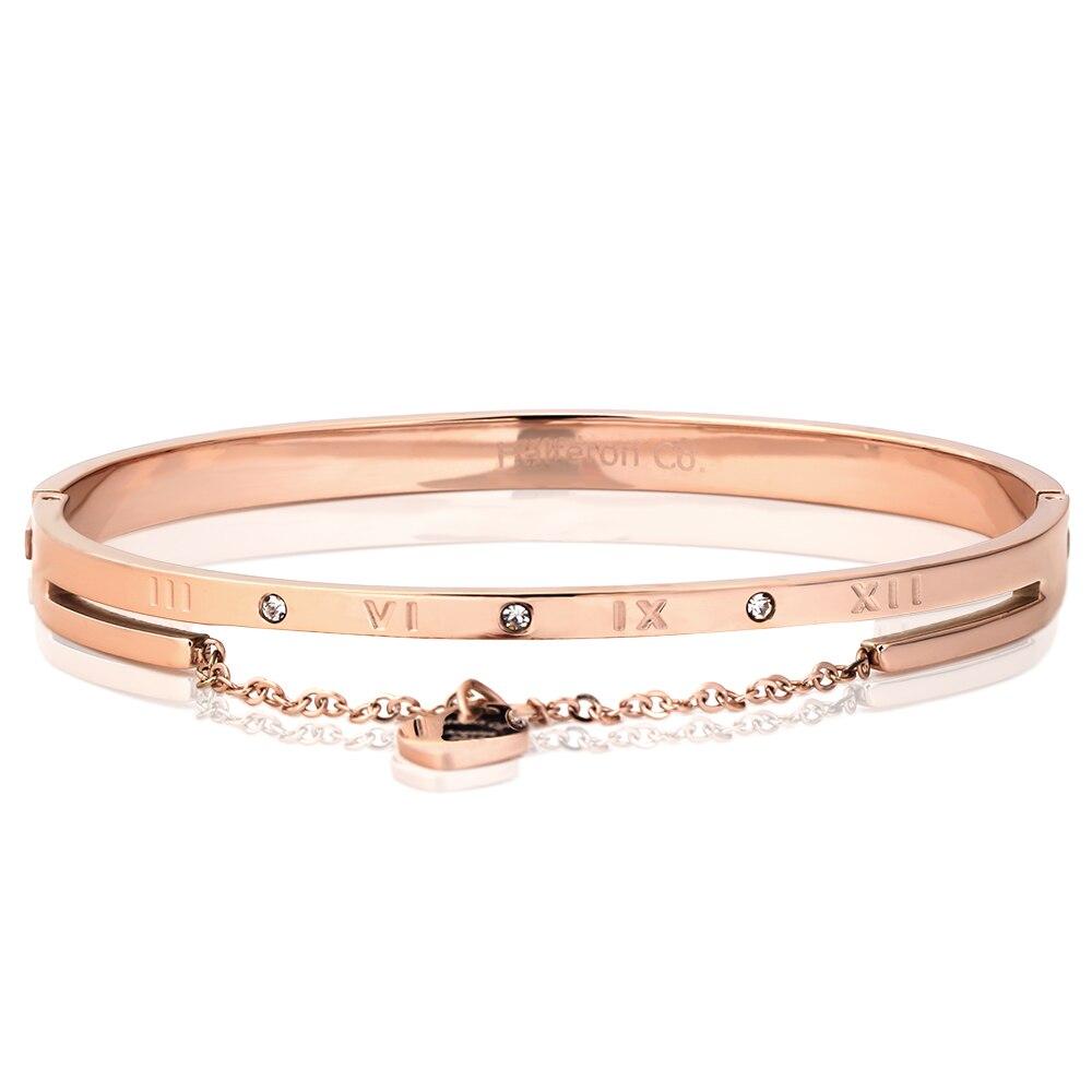 heart charm elegant bangle bracelet for women rose gold. Black Bedroom Furniture Sets. Home Design Ideas