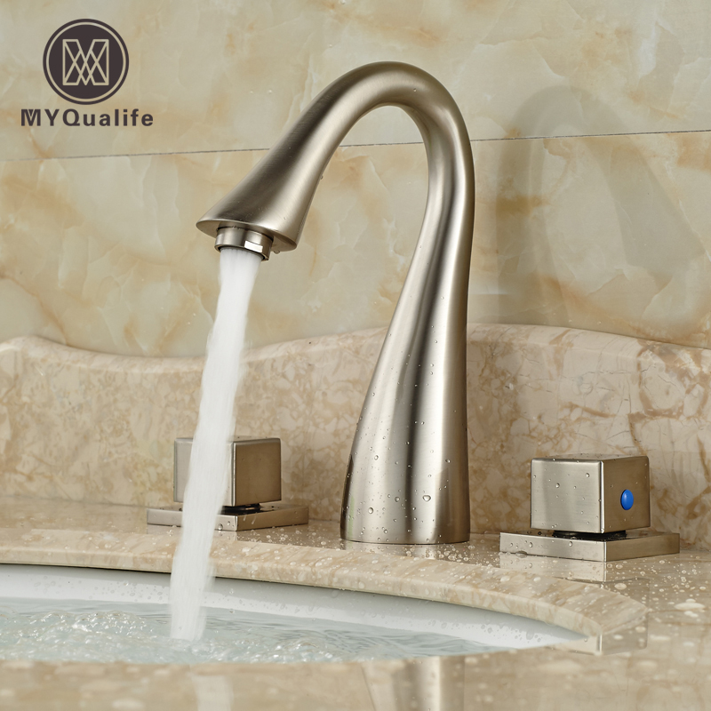 Contemparary Dual Square Handles Bathroom Sink Basin Faucet Tap Deck Mount 3 Holes Mixexr Taps new arrive dual square handles waterfall spout bathroom sink basin faucet brushed nickel deck mount