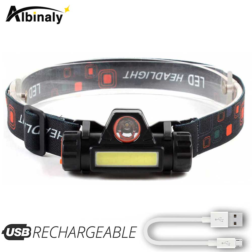 Rechargeable LED Headlamp  XPE+COB Work Light 2 Lighting Modes With Tail Magnet Detachable Headlight For Camping, Adventure