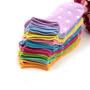 12pcs/6pair Women Socks Heart Dot Solid Cute Short Woman Slippers Cotton Blends Low Cut Ankle Boat  Summer - discount item  35% OFF Women's Socks & Hosiery