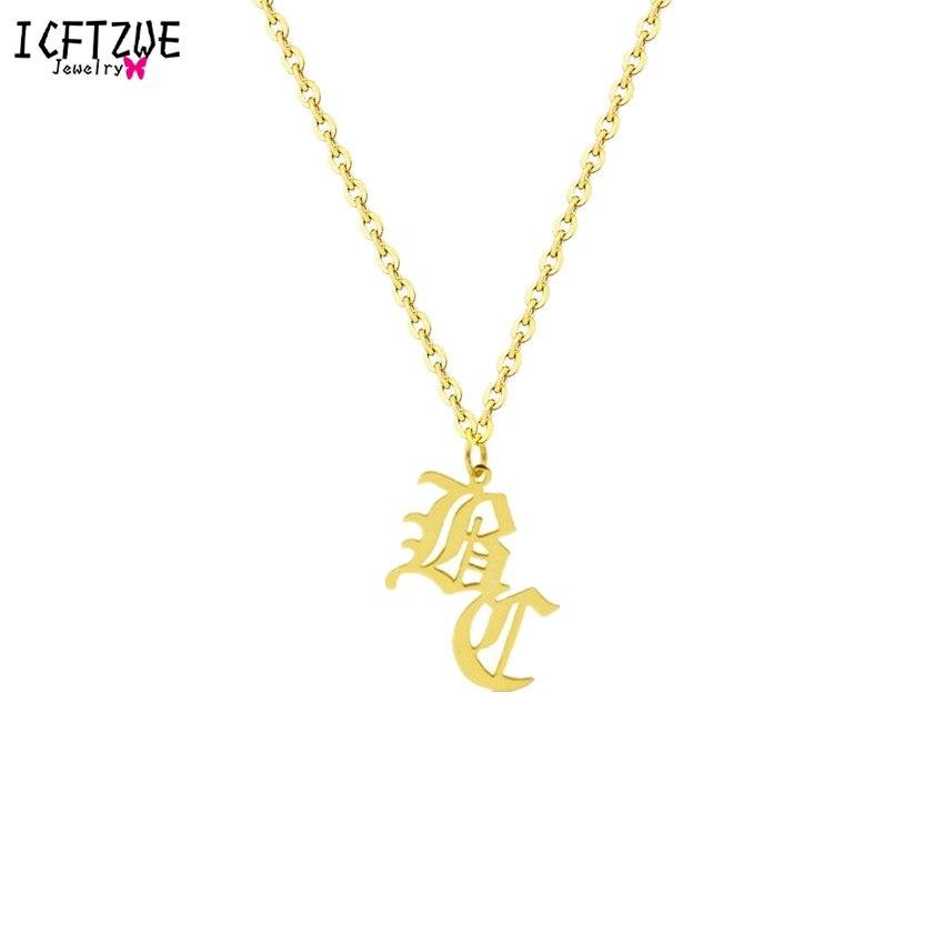 fbc60c6e2df3 Cadena de plata de Gargantilha viejo inglés 2 inicial collar nombre  personalizado oro declaración collares para Mujeres Hombres regalo de  Navidad