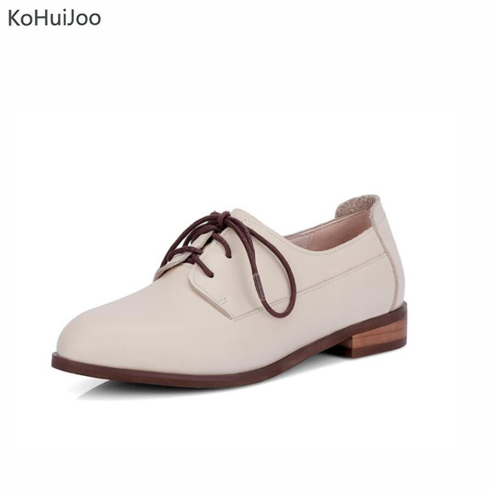 KoHuiJoo 2018 Spring Women Lace up Flats Casual Genuine Leather Flat Shoes Ladies Autumn Retro Footwear Female Leather Loafers 2016 spring and autumn women s shoes female flat heel maternity shoes genuine leather shoes flats for women