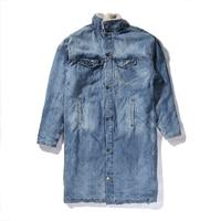 2016 Europe Street Blue Jacket Men Clothes Stylish Long Coat Clothing Fleece Winter Denim Jackets Jean