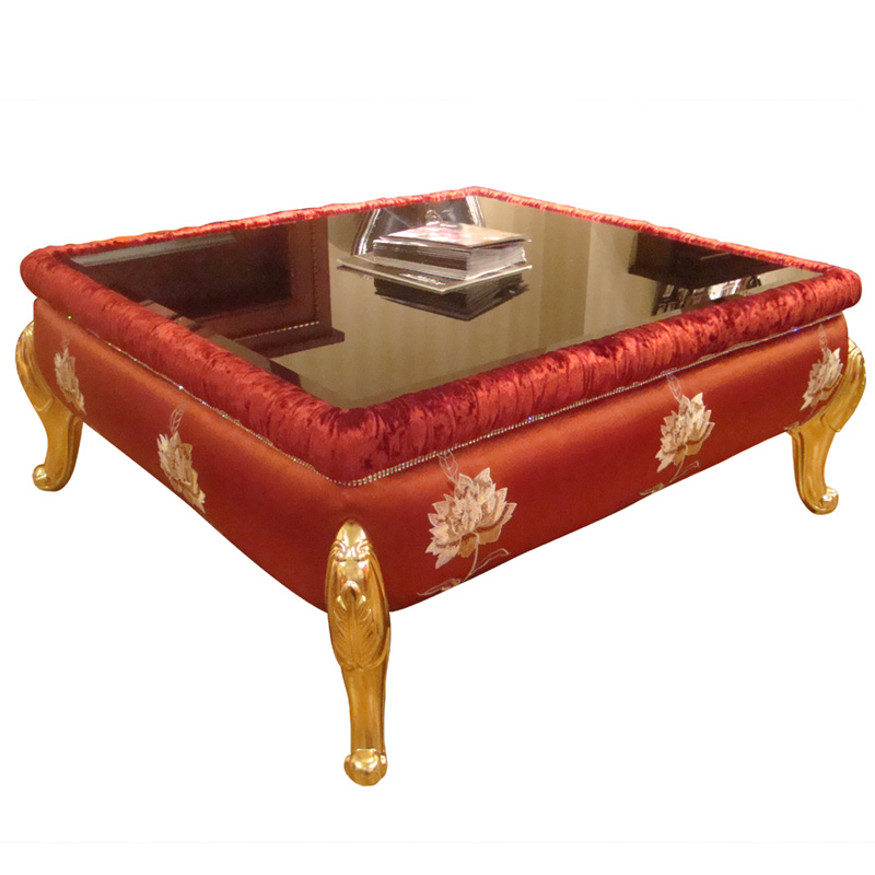 Neo-classical living room coffee table tempered glass solid wood fashion creative Ivory white tea table furniture