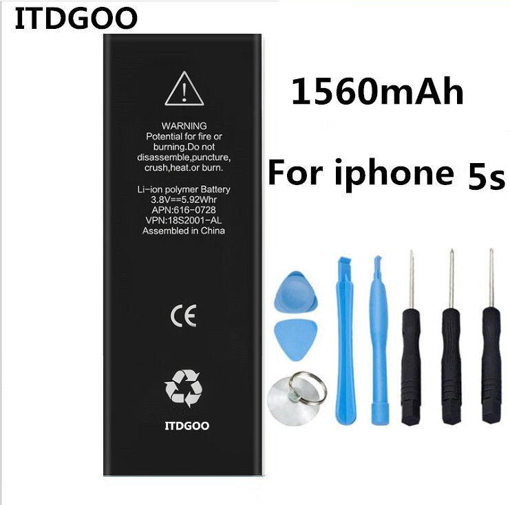 Mobile Phone Battery For iPhone 5S Real Capacity 1560mAh With Repair Tools Kit And Battery Sticker