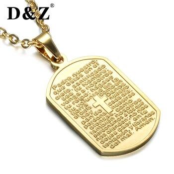 87ad36b8e6f5 D   Z religioso Jesús Cruz hombres perro etiqueta collar cadena dorada  Acero inoxidable Biblia Cruz colgantes collares para joyería cristiana