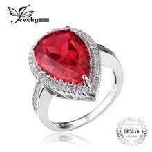 JewelryPalace Lujo 7ct Pear Cut Creado Rubíes Rojo Sólido 925 Plata Esterlina Anillo de Compromiso Joyería Fina Anillo de La Manera para Las Mujeres