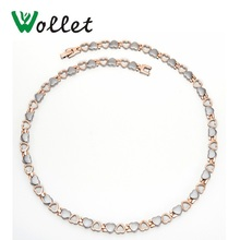 Wollet Heart Design Rose Gold Plated Infrared Tourmaline Germanium Negative Ion Magnetic Stainless Steel Necklace for Women недорого