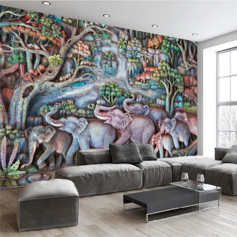 Beibehang Custom 3d Wallpaper High Definition Three Dimensional Abstract Animal Elephant Relief Background