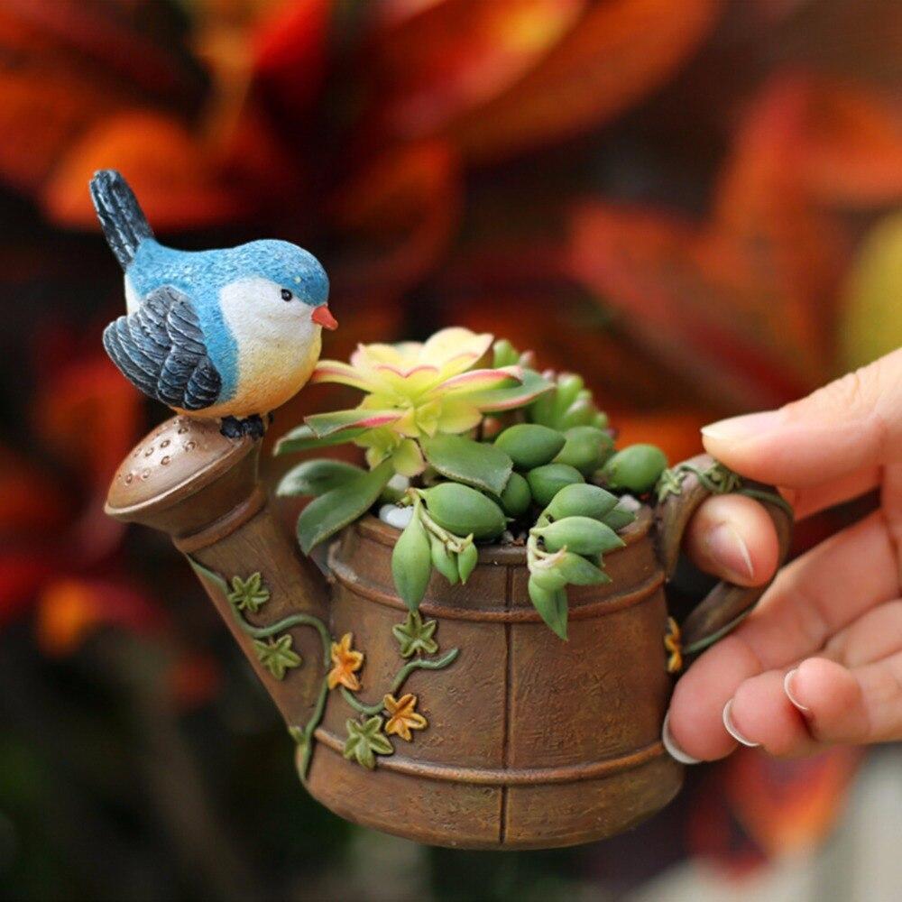 Cute & Beautiful Bird & Watering Pot Succulents Flower Pots Gardening Resin Flower Pots Animal Style Figurines Gardening Pots