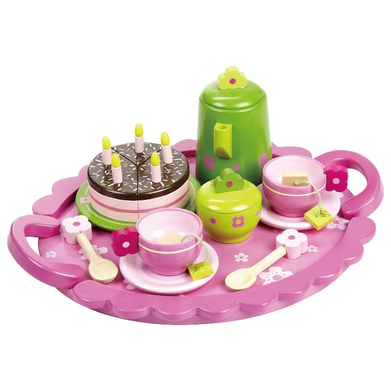 все цены на  Baby Pretend Play house Black Tea Set  Wooden Toys Kitchen Food Cake Set Kids Educational Birthday Gift wholesale  в интернете