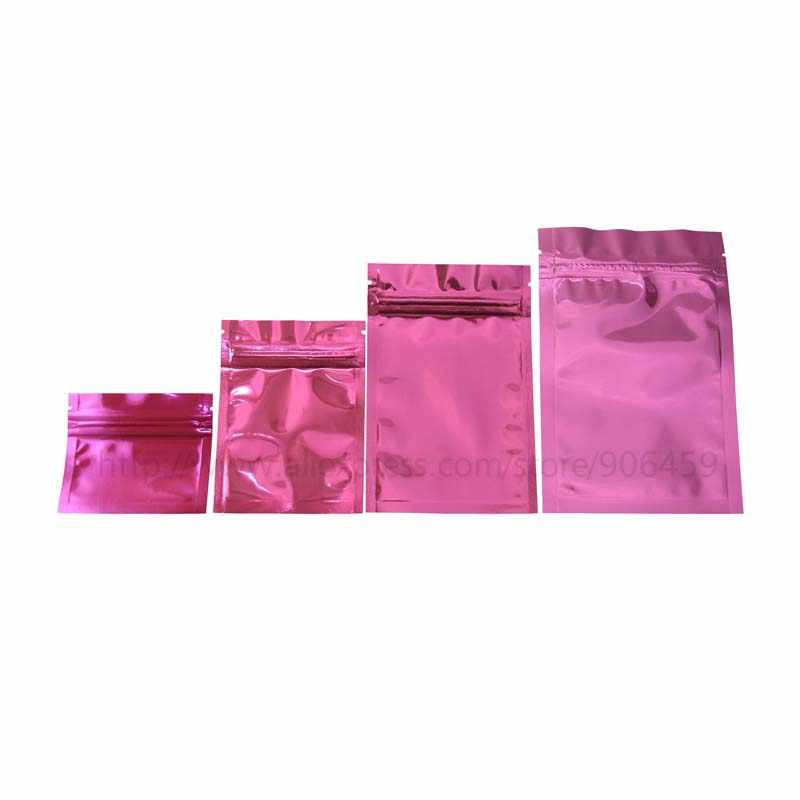 100 Pcs Pink Antistatic Aluminum Storage Bag Ziplock Bags Resealable Anti Static Pouch for Electronic Accessories Package Bags