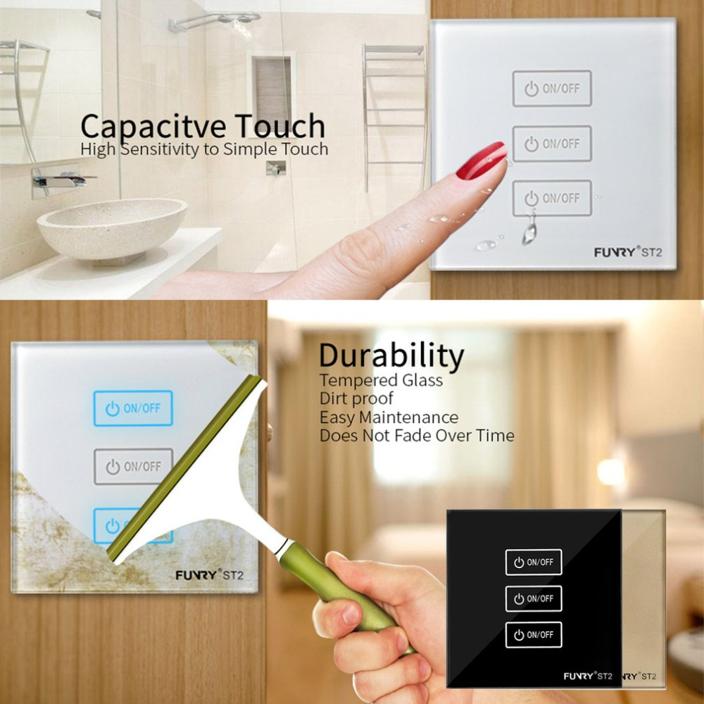 Funry 3gang Tempered Glass Panel Smart Remote Control Sensor Switch How To Make A Simple Touch Circuit Waterproof Shiny Wall With Led In Switches From Lights Lighting On
