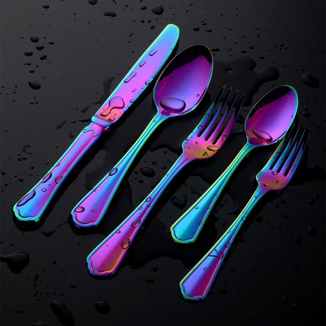20 Pcs Unique Rainbow Stainless Steel Cutlery Flatware Kitchen Knife Fork Spoon Set Halloween Gift Service For 4