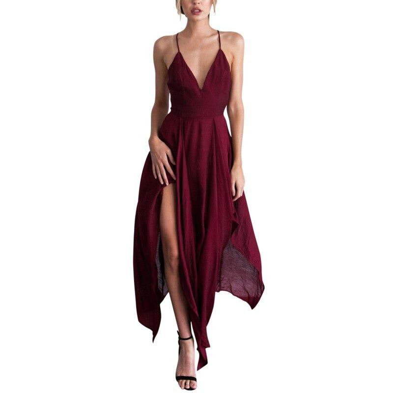 Buy Women Sexy Autumn Elegance Halter Dress Sleeveless Sling Irregular Long Dresses Sexy-V Dress Casual Beach Party Red vestidos