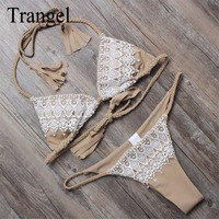 Trangel Bikinis Women 2017 Sexy Women Swimwear Halter Strappy Bikini Set Bandage Lace Up Swimsuit Bikinis