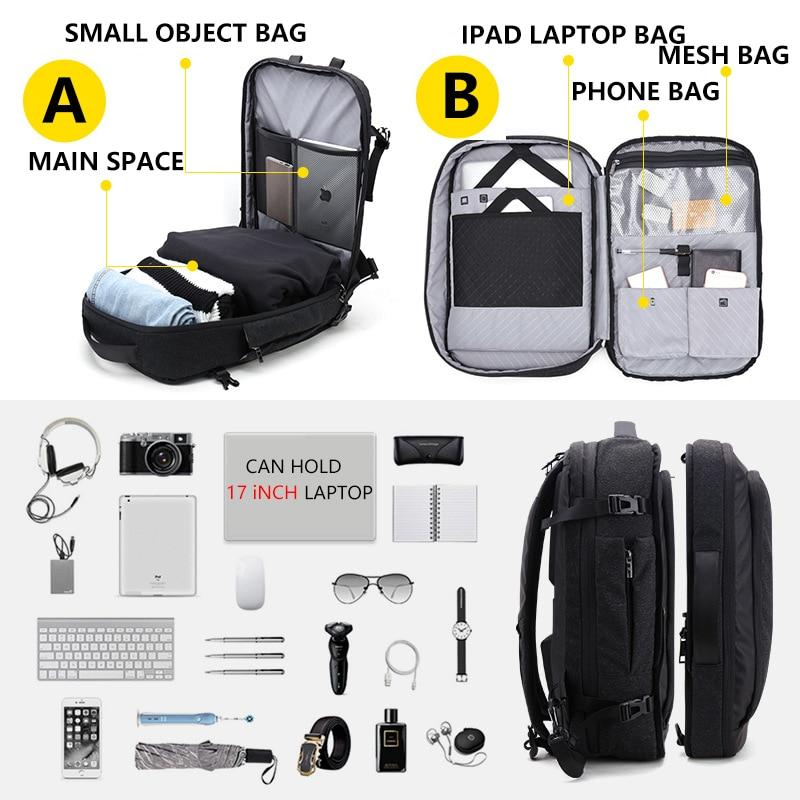 Большой емкости 17 дюймов рюкзак для ноутбука Многофункциональный водонепроницаемый мужской бизнес путешествия Back Pack черный мужской качественный компьютер сумки - 4