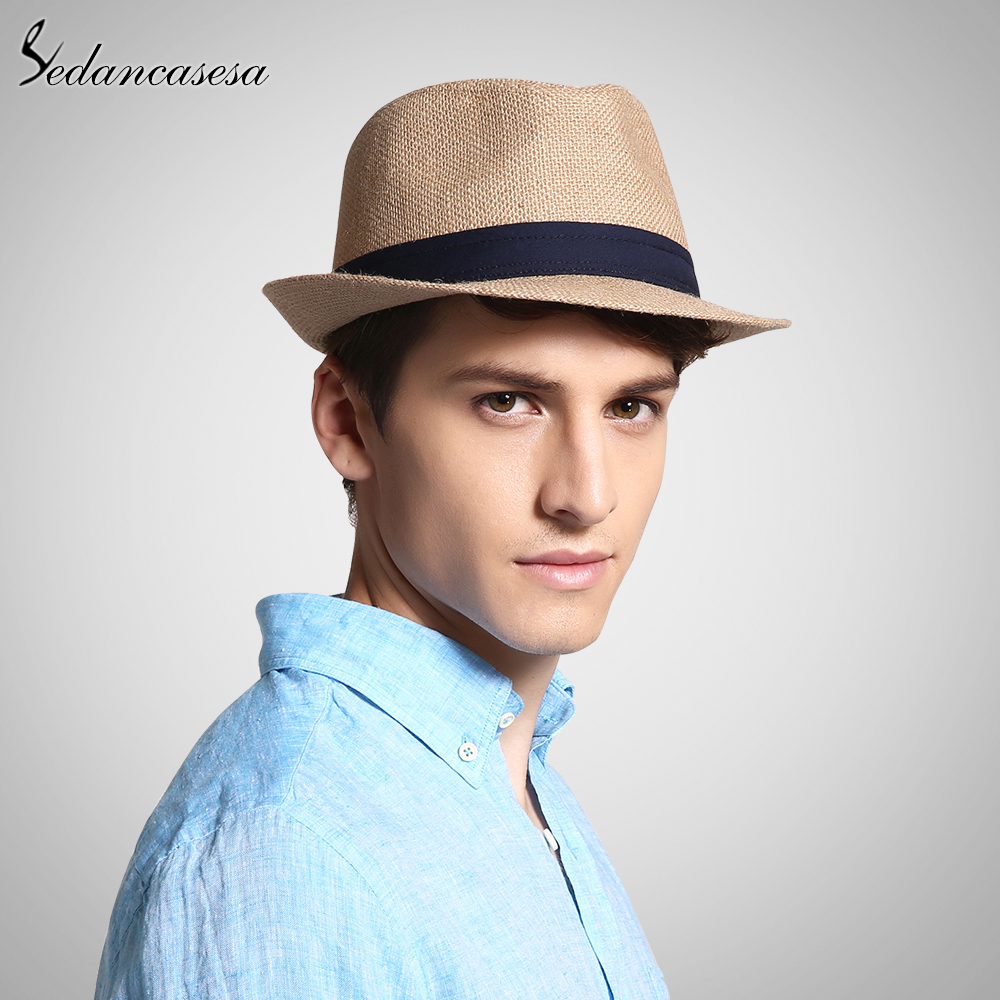 fashion men fedora straw hats for women man holiday beach summer sun hat unisex linen trilby. Black Bedroom Furniture Sets. Home Design Ideas