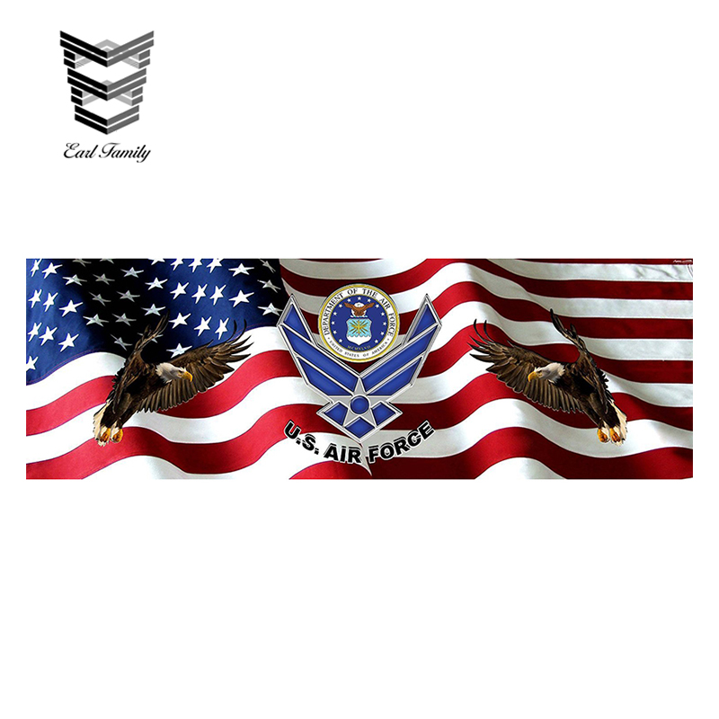 Earlfamily 15cm X 5cm Air Force American Flag Eagle Rear Truck