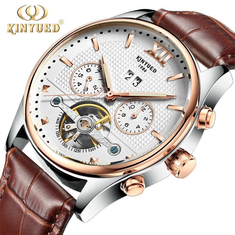 Kinyued Real relojes mecánicos hombres moda caliente Tourbillon automático banda de cuero pulsera de oro Reloges esqueleto de la mano del reloj