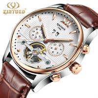 Kinyued จริงนาฬิกาผู้ชายแฟชั่นอัตโนมัติ Tourbillon นาฬิกาข้อมือทอง Reloges Skeleton มือนาฬิกา