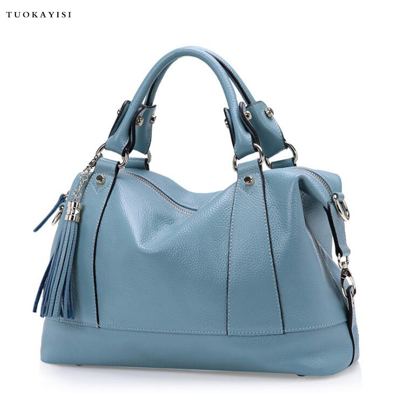 2017 Women Hit color Leather Handbags Casual Tote bags Crossbody Bag Top-handle bag With Tassel And Pendant leisure women s crossbody bag with splicing and color block design
