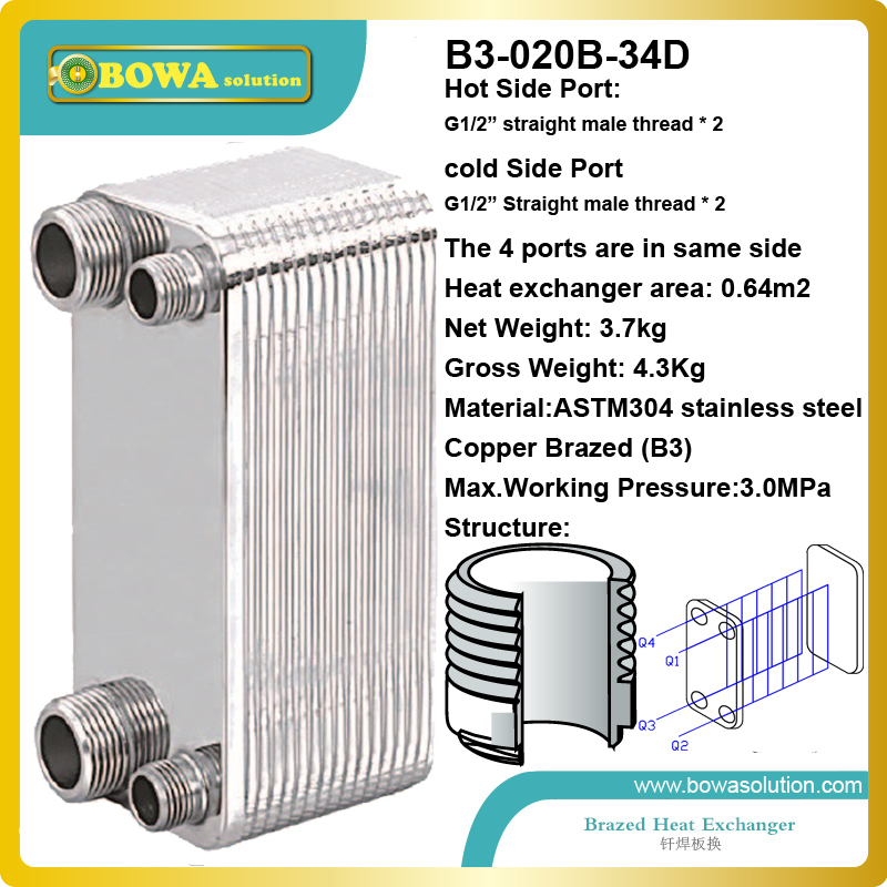 8600kcal  water to propylene glycol plate heat exchanger for heating devices replace SPX plate heat exchanger 28 plates heat exchanger as 14kw evaporator of air source or water source water chiller replace spx plate heat exchanger