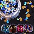 12 Unids/set Brillante Ultrafino Glitter Lentejuelas Redondas de Colores de Uñas Consejos Glitter Powder Gel UV Manicura Del Arte Del Clavo 3D Decoración