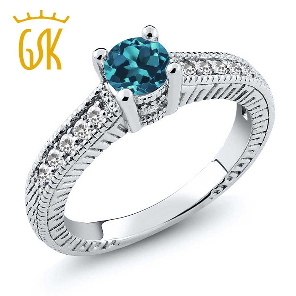 Gemstoneking Solid 925 Sterling Silver Women's Engagement Ring 065 Ct  Round Natural
