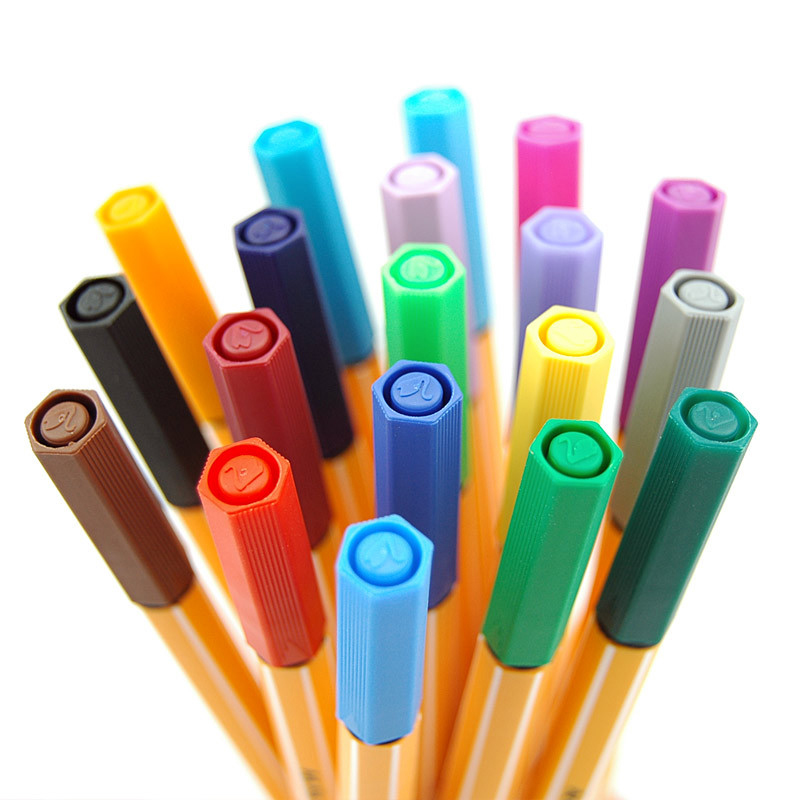 STABILO ปากกา MARKER PEN 0.4 มม.พลาสติก S Hook Line ปากกาสีน้ำ Sketch สำหรับวาดภาพวาดโรงเรียนอุปกรณ์ศิลปะ Liner