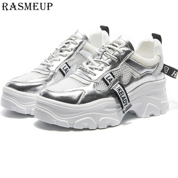 RASMEUP Genuine Leather Mesh Women Platform Sneakers Fashion Brand Women's Chunky Shoes 2019 Woman Dad Trainers Lady Footwear