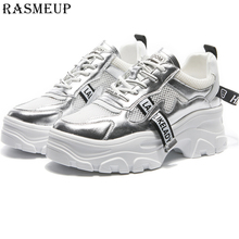RASMEUP Genuine Leather Mesh Women Platform Sneakers Fashion Brand Women's Chunky Shoes 2019 Woman Dad Trainers Lady Footwear