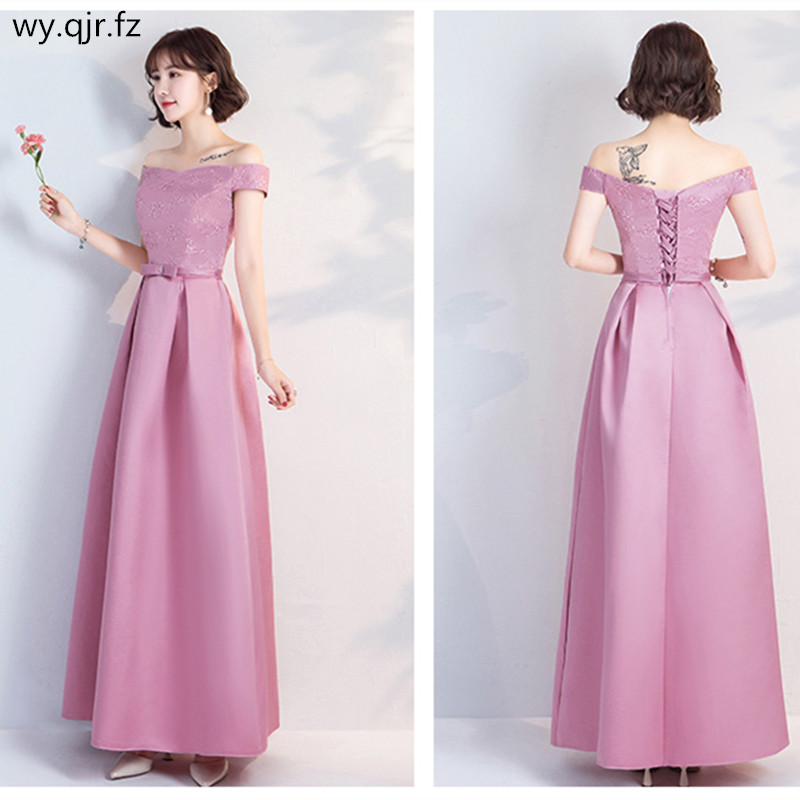 YWXN5559Q#Pale Mauve Long, medium and short Boat Nec Boat Neck Lace up   Bridesmaid     Dresses   2019 new wedding party   dress   prom gown