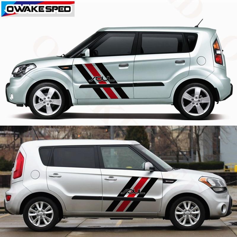 NTUOO Auto Laterale Decalcomanie Sportiva Adesivi Car Decorativi Accessori Styling per Kia Soul Carrozzeria Side Gonna Stripe Autoadesiva Sticker