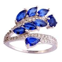JROSE Fashion Wedding Jewelry Leaves Sapphire & White Topaz 925 Silver Ring Size 7 8 9 10 Free Shiping Wholesale Gift