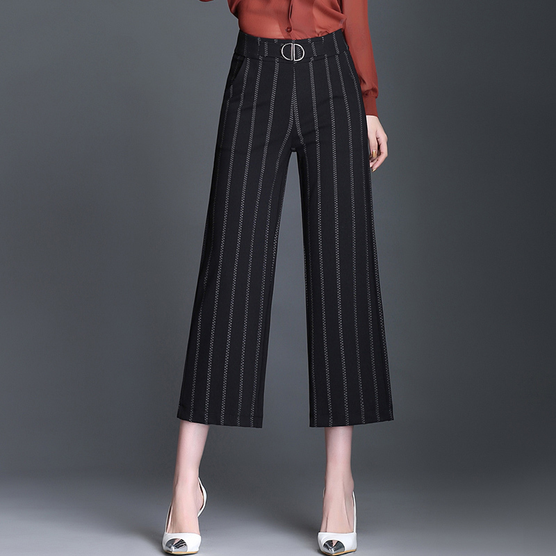 2019 Fashion Stripe Wide Leg Pants Women Spring Summer High Waist Trousers Casual Loose Calf-Length Pants Capris Female