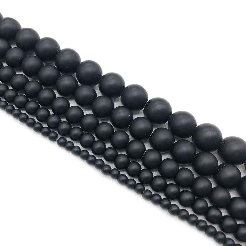 Natural Stone Black Dull Polish Matte agat Onyx Frost Glass Beads Bracelet Woman 4 6 8 10 12 14 mm Fit DIY For Jewelry Making in Beads from Jewelry Accessories