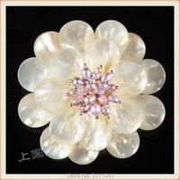 Freshwater pearl & shell flor branca broche FPPJ atacado contas de natureza