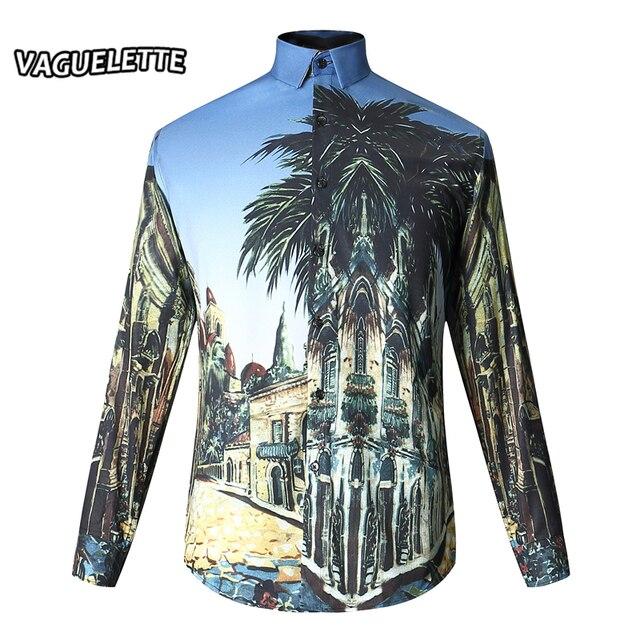 Elegant Mens Hawaiian Shirt Long Sleeve 3D Printed Patterned Shirt ...