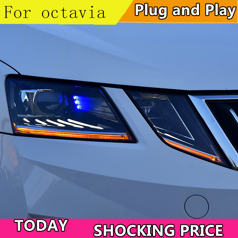 Car Styling For Skoda Octavia Headlights 2018 New Octavia ALL LED Headlight LED DRL Lens High Low Beam Parking