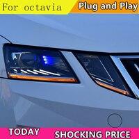 Car Styling For Skoda Octavia Headlights 2018 New Octavia ALL LED Headlight LED DRL Lens High Low Beam Parking