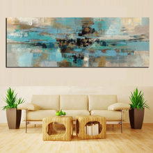Light Blue Large Painted Abstract Painting on Canvas