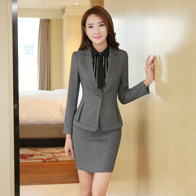 271dd73d8c6 Formal Professional Women Skirt Suits With Jackets And Mini Skirt Slim  Fashion Autumn Winter Beauty Salon
