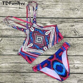 a17c64ded621 Conjunto de Bikinis brasileños con estampado de colores TDFunlive, nueva  llegada, chaleco de tirant