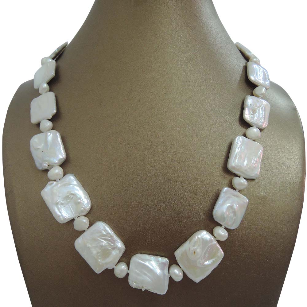 free shipping rectangle baroque pearl shape necklace 100% NATURE FRESHWATER Baroque PEARL NECKLACE-nice clasp