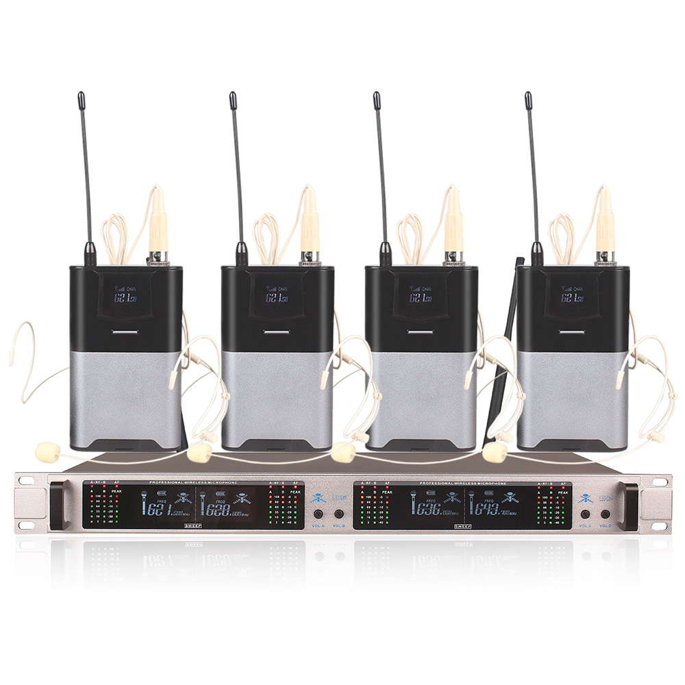 Professional Wireless Microphone System 405GT 4 Channel UHF Dynamic Professional 4 Headphones Collar Line Conference