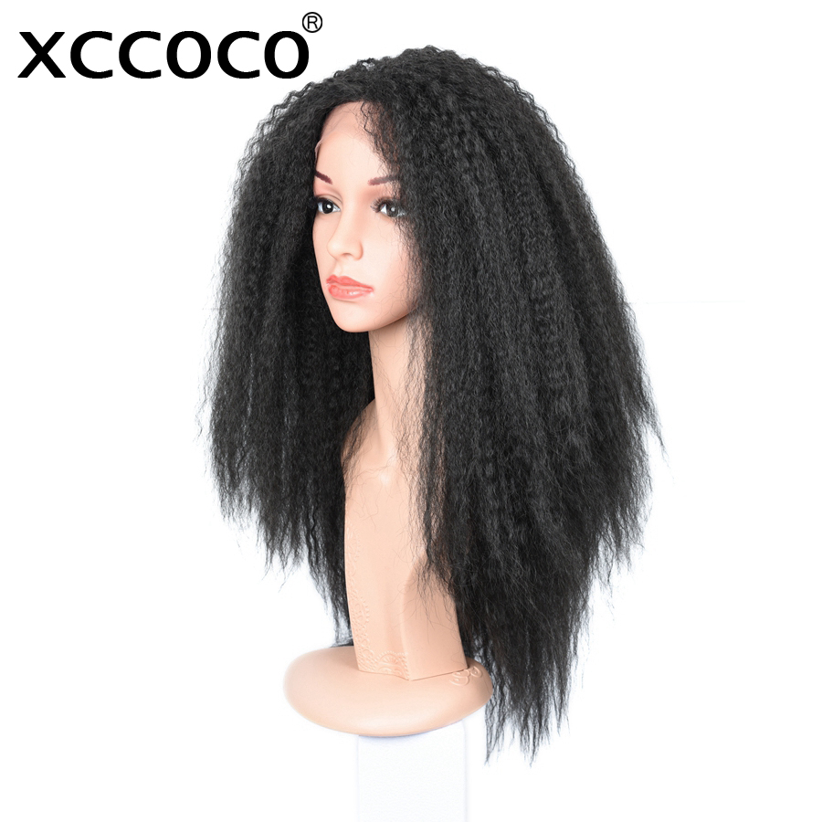 XCCOCO Synthetic Lace Front Wig Kinky Straight Wig For Women Heat Resistant 100% Kanekalon Hair Natural Color